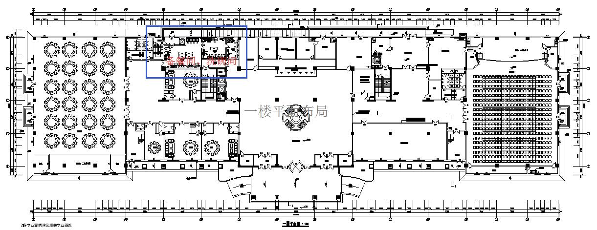 整个接待中心酒店为三层楼,地下一层、地上两层,所有加工厨房和洗衣房位于地下一层。一楼有300人的宴会厅以及部分包房,二楼包房和零餐座位,整个酒店的接待人数为800人左右。 由于整个酒店规划比较合理,一楼和二楼的备餐间面积都比较大,因此我们为每一层都规划了一个备餐和洗碗间。能够迅速的把每一层的污碟都清晰完毕,并在当层储藏,减轻给地下厨房的压力。地下厨房我们合理的规划了存储、主副食加工间、烹调间、酒水间、凉菜间、面点间、中点蒸煮间、西点烘焙间等各个必须的功能间。流程合理,能够满足整个酒店的出品要求。