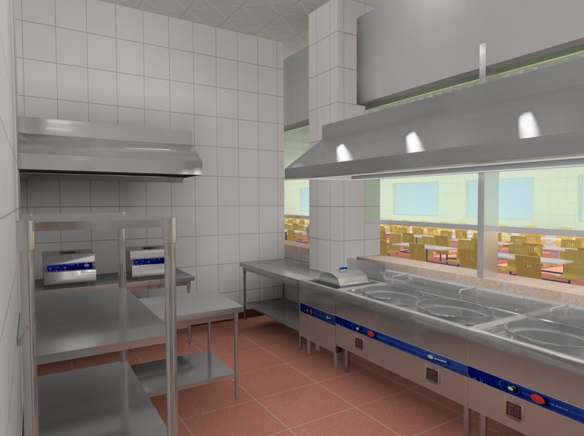 广东中山企业食堂cad平面图及效果图设计-食堂厨房-,.图片